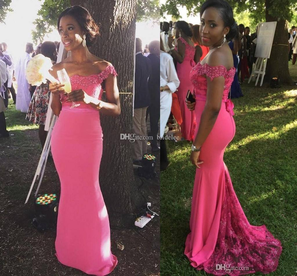 Hot pink plus size bridesmaid dresses for wedding 2018 off hot pink plus size bridesmaid dresses for wedding 2018 off shoulder mermaid maid of honor gowns sweep train formal party dresses bridesmaid dresses junior ombrellifo Image collections