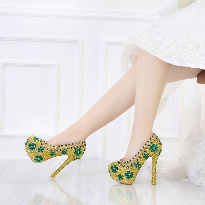 2017 Newest Designer Gold Color Green Flowers Rhinestone Shoes Fashion Stiletto Crystal High Heels Party Prom Cinderella Nightclub Women Wedding