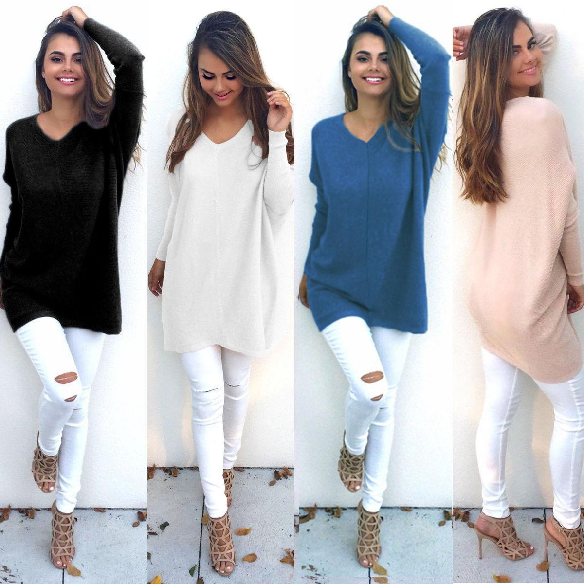 Womens V Neck Chunky Knitted Oversized Baggy Long Sleeve Pullover ...