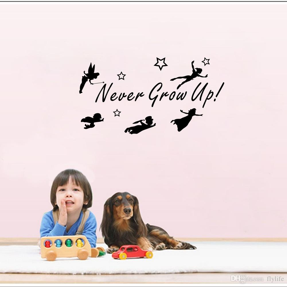 Never Grow Up Quotes Wall Sticker Tinker Bell Wall Decals Fairy Home Decor for Kids Room Bedroom Decoration