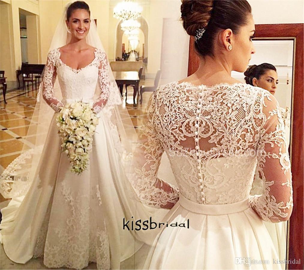 Vintage victorian princess wedding dresses v neck long for Plus size victorian wedding dresses