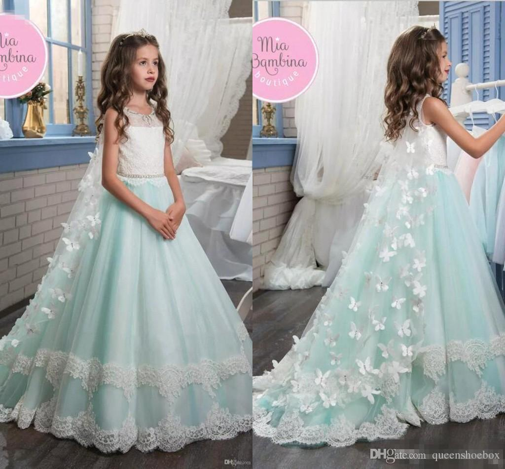 Princess Sleeveless Mint Flower Girl Dresses 2017 White Lace