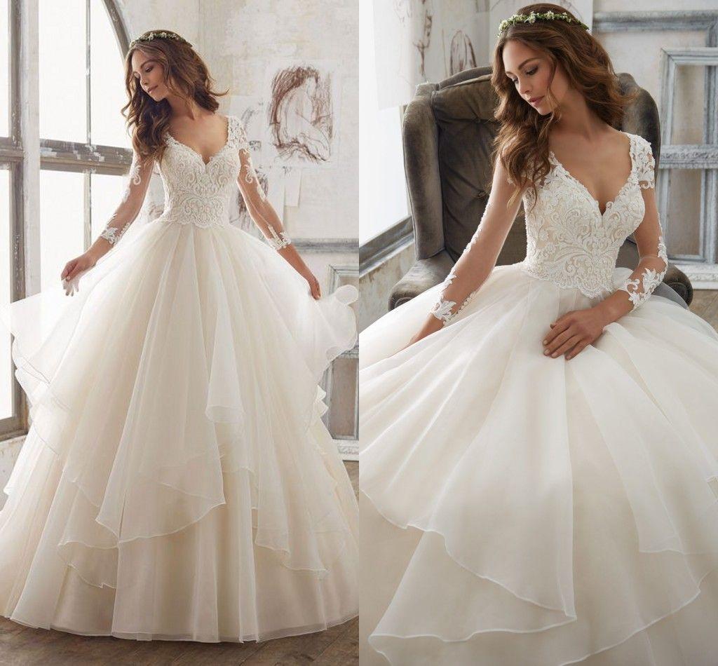 2017 Modest Floor Length Princess Ball Gowns Wedding