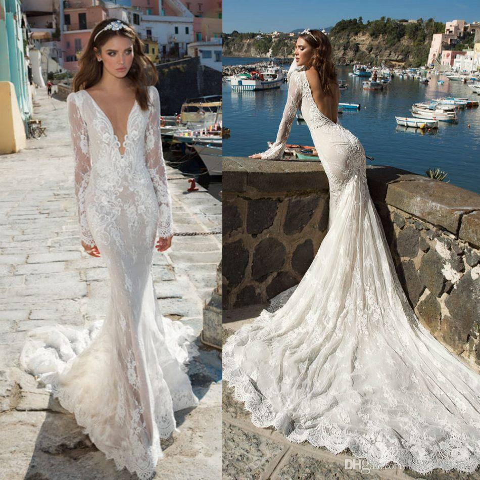 Fashionable white wedding dresses lace fishtail mermaid for White fishtail wedding dress