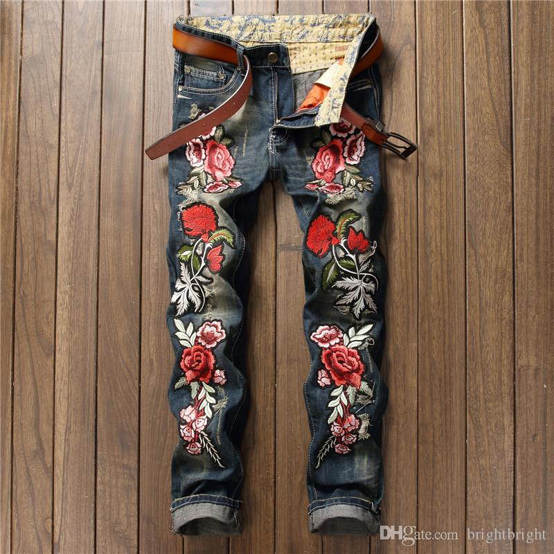 Flower embroidery jeans men back pocket fashion