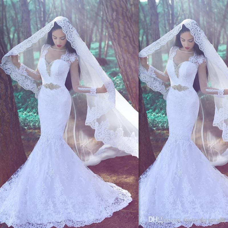 2017 fishtail white lace mermaid wedding dresses cap for White fishtail wedding dress