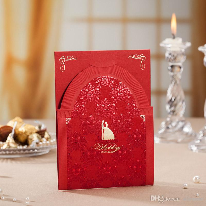 Europe Style Red 3D Place Wedding Invitation Cards Church Design – Red Wedding Invites