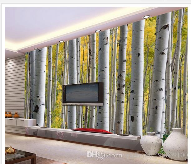 Birch forest painting background wall mural 3d wallpaper for Birch forest wall mural