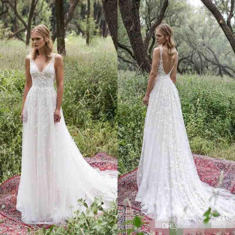 Modern Country Chic Wedding Dress : Boho new country style wedding dresses sexy v neck backless full