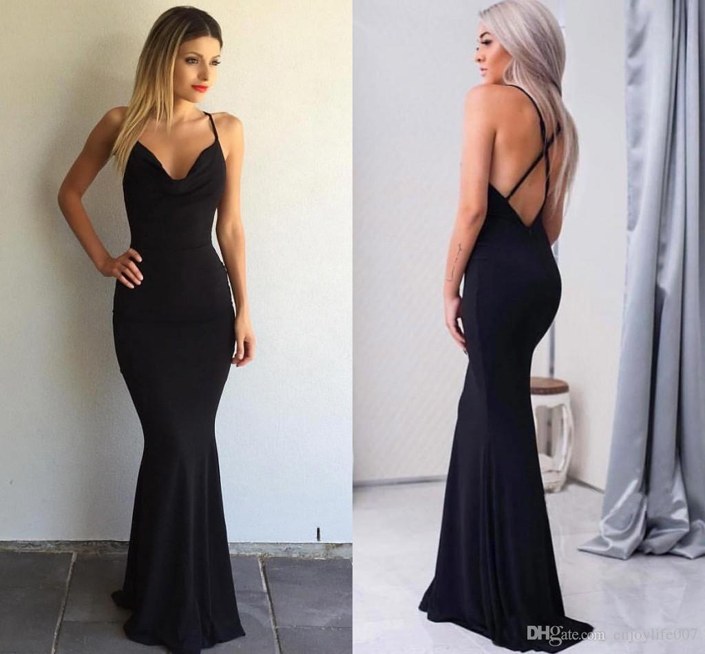 Elegant Simple Black Mermaid Evening Dresses 2017 Cheap
