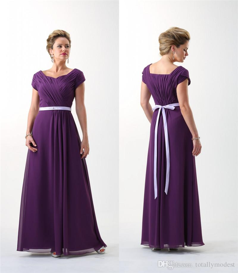 Eggplant Purple 2017 Modest Bridesmaid Dresses Long With