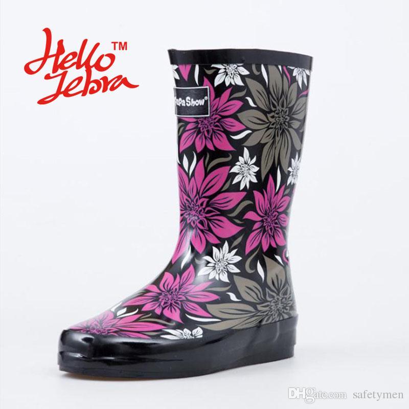 2017 Women Purple Rain Boots Printing Flower Lady Low Hoof Heels ...