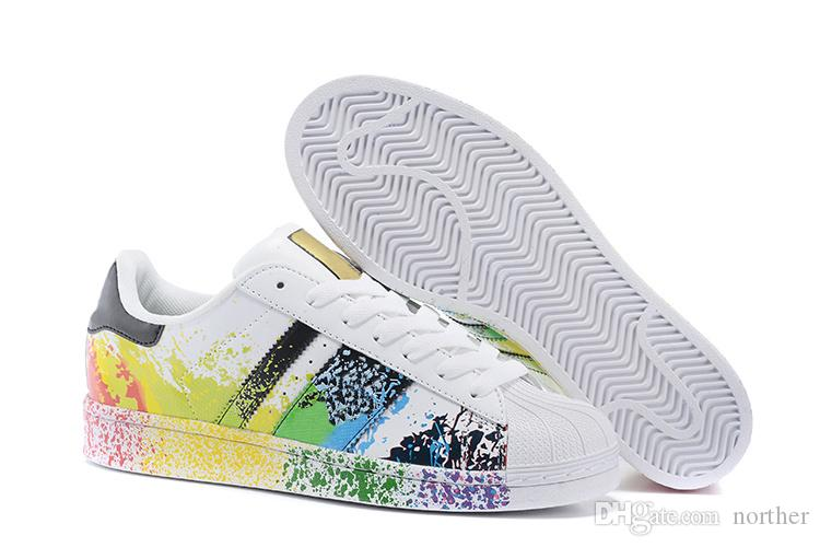 Adidas Superstar LGBT Pride Pack Rainbow White Paint Splatter