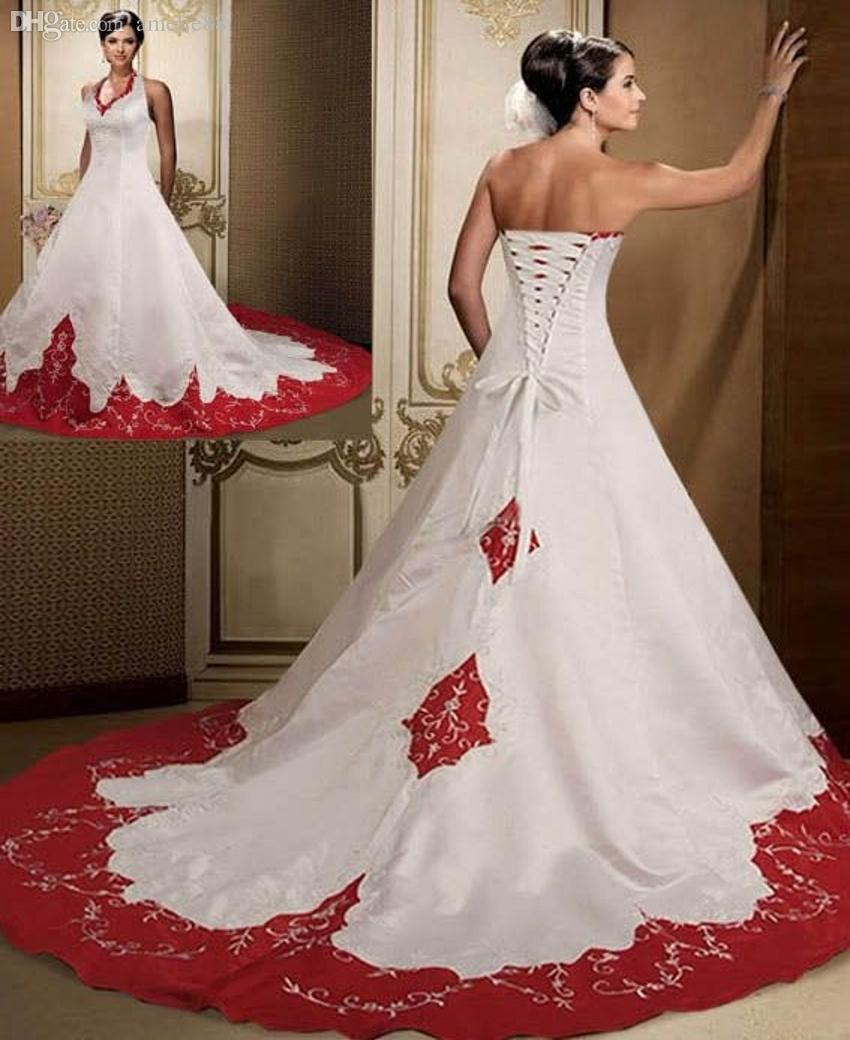 Backless dress dyed red and white wedding dress to the floor in backless dress dyed red and white wedding dress to the floor in 2017 chapel train wedding dress custom size wedding dresses the wedding dress lace ombrellifo Gallery