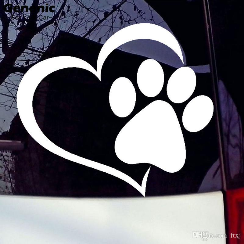 11cm * 9.3cm Nouveau Pet Paw love heart Pattern Car Window Stickers Autocollants