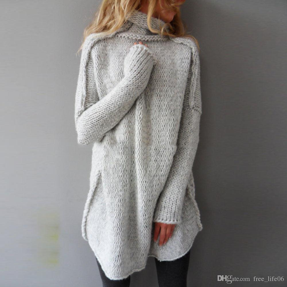 Womens Oversized Jumper Ladies Dress Long Sleeve Chunky Knitted ...