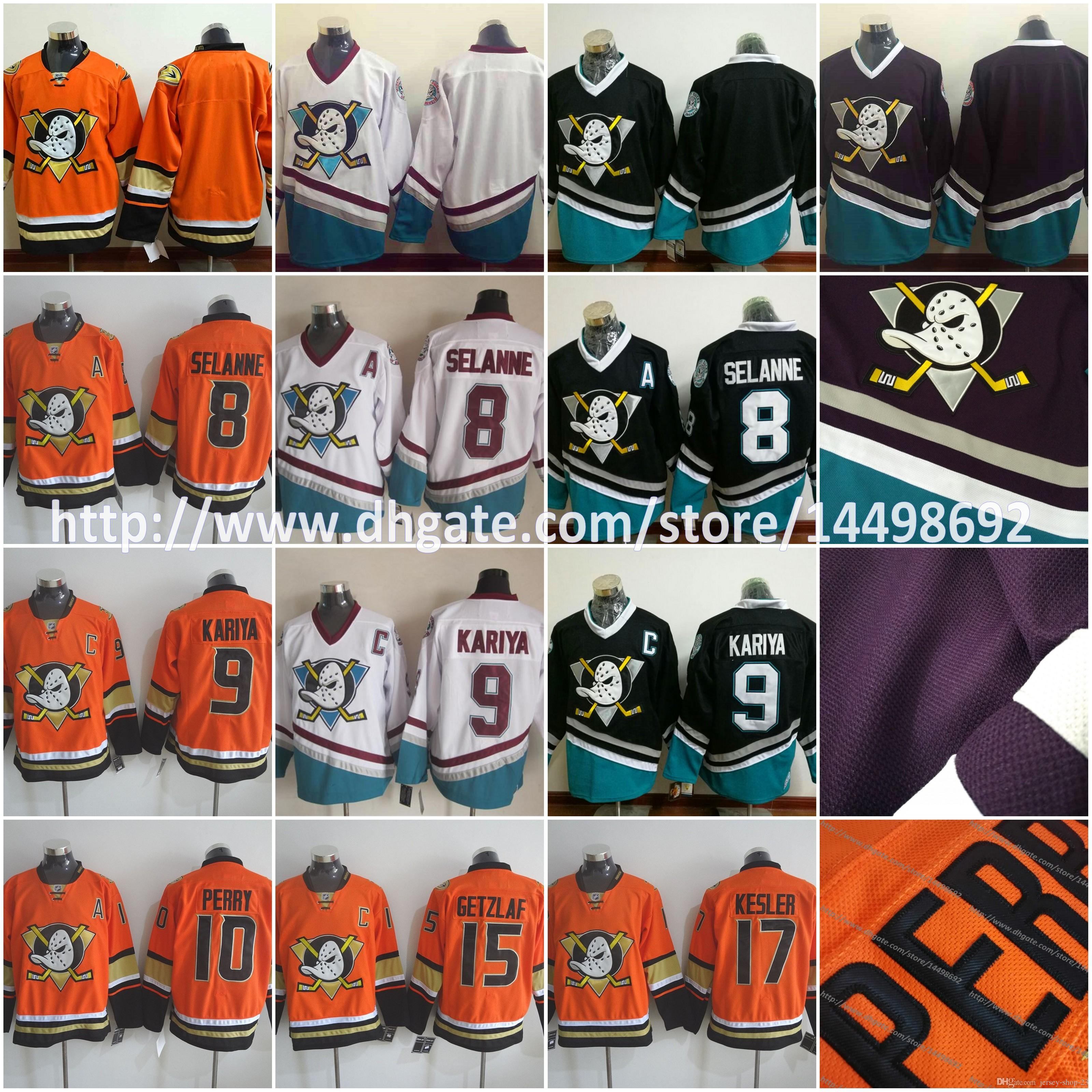 Hommes Mighty Ducks Blank 8 Teemu Selanne 9 Paul Kariya 15 Ryan Getzlaf 10 Corey