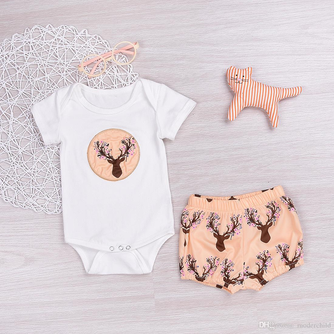 Baby baby summer clothes sets baby girl deer tête bretelle à manches courtes ave