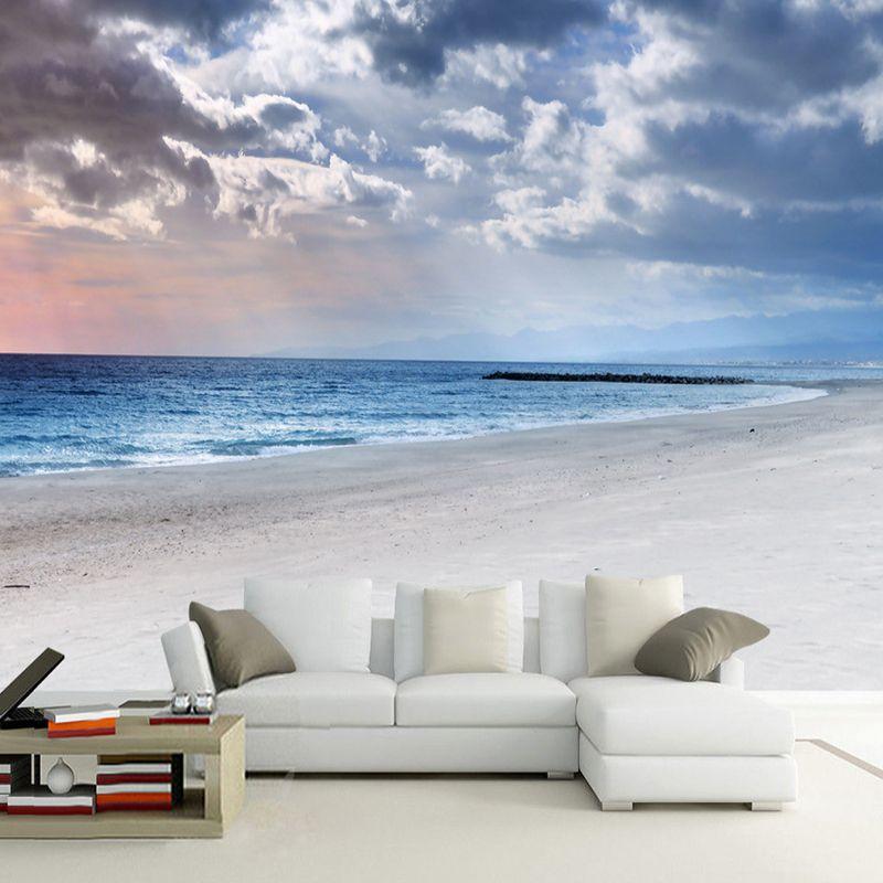 Wholesale custom murals wallpaper 3d stereoscopic beach for Beach mural bedroom