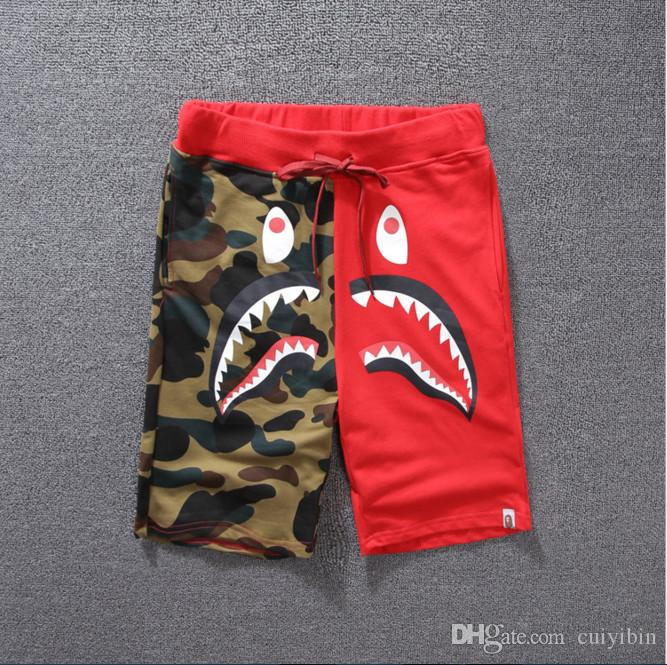 Shark Puzzle Camouflage Shorts Hommes Casual Pantalons courts Coton Tissus