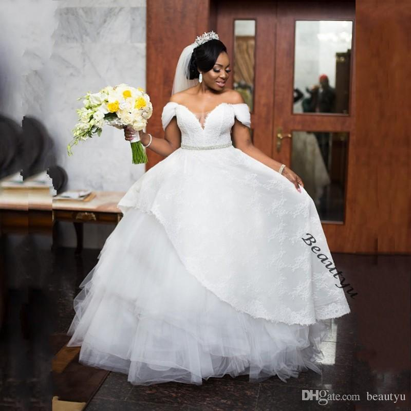Wedding Ball Gowns For   In South Africa : African dubai ball gown wedding dresses capped sleeves corset