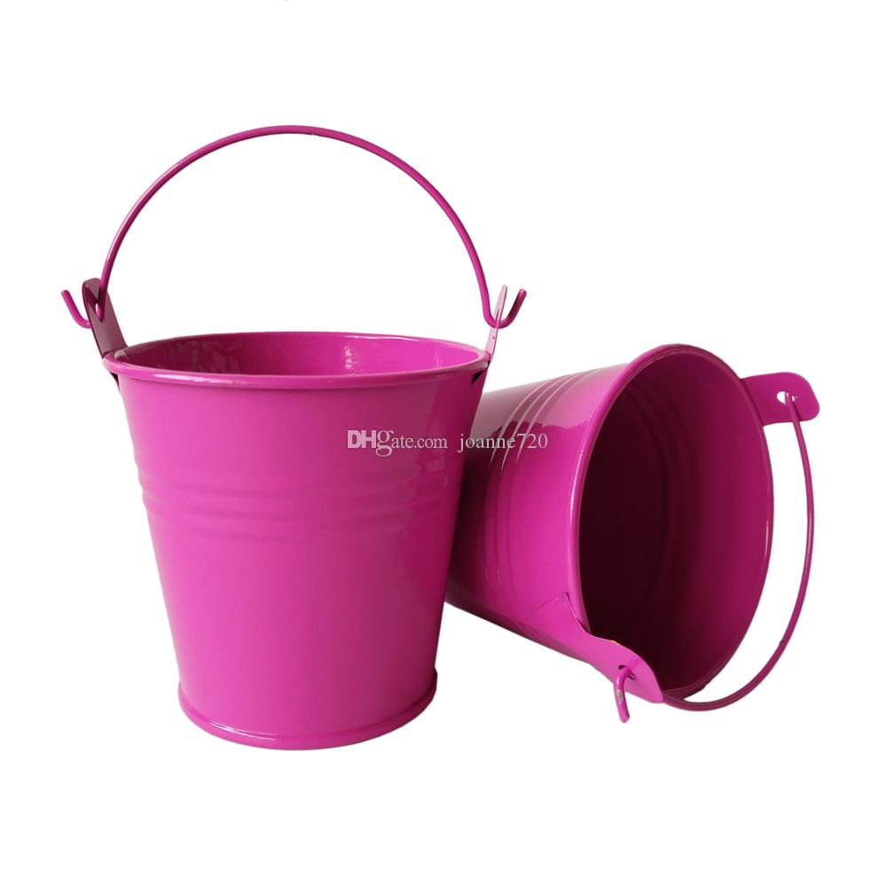 2017 colorful rose red metal flowerpots planter small pails pure