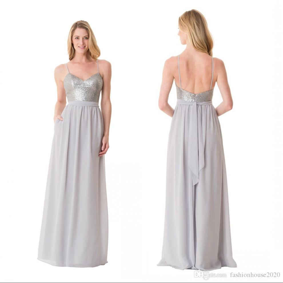 Sparkly sequins long chiffon country bridesmaid dresses for Sparkly beach wedding dresses