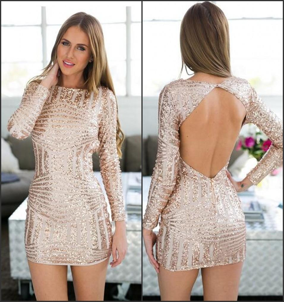 Rose Gold Long Sleeve Open Back Bodycon Sequin Homecoming ...