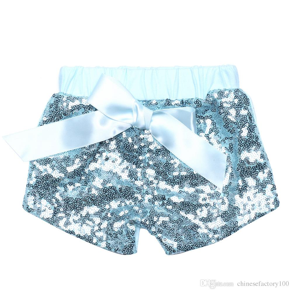 B茅b茅 Sequin Shorts Pantalons d'茅t茅 D茅contract茅 Mode Enfant Glitter Bling Dance Boutique Bowknot Princess Shorts Enfants Gar莽ons Filles V锚tements