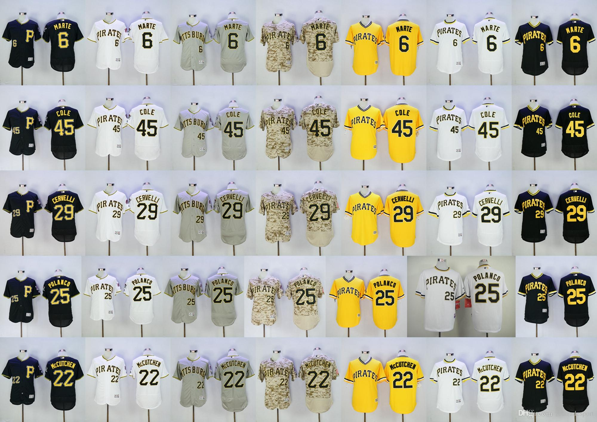 2017 Pittsburgh Pirates Maillot de base-ball 22 Andrew McCutchen 6 Starling Mart
