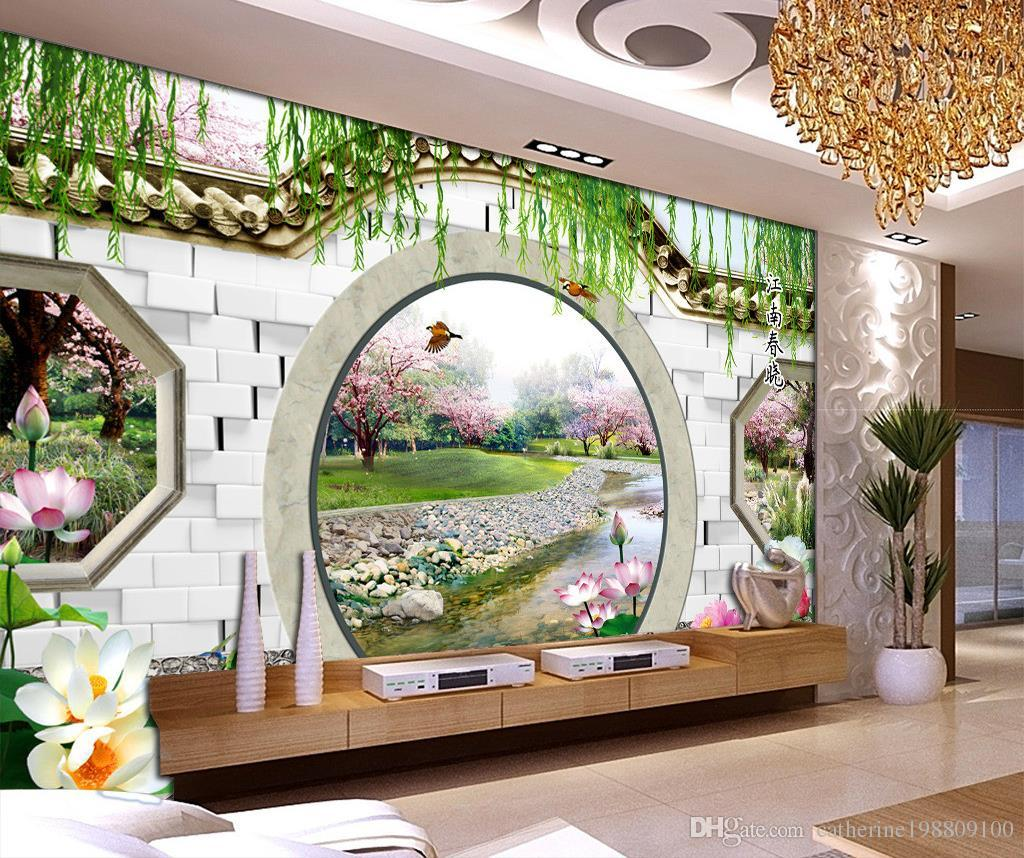 Custom any size dream 3d spring peach round door tv for Custom size wall mural