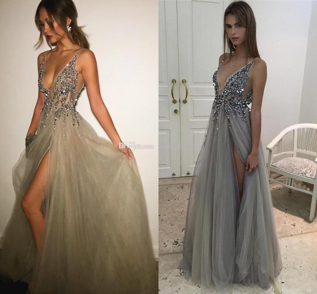 Silver Gray Berta y Evening Dresses 2017 Deep V Neck