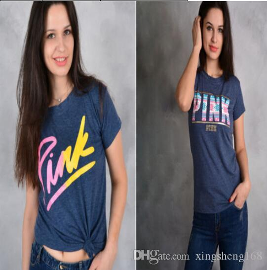 Brand Pink Letters Print Women Tshirt Casual Cotton