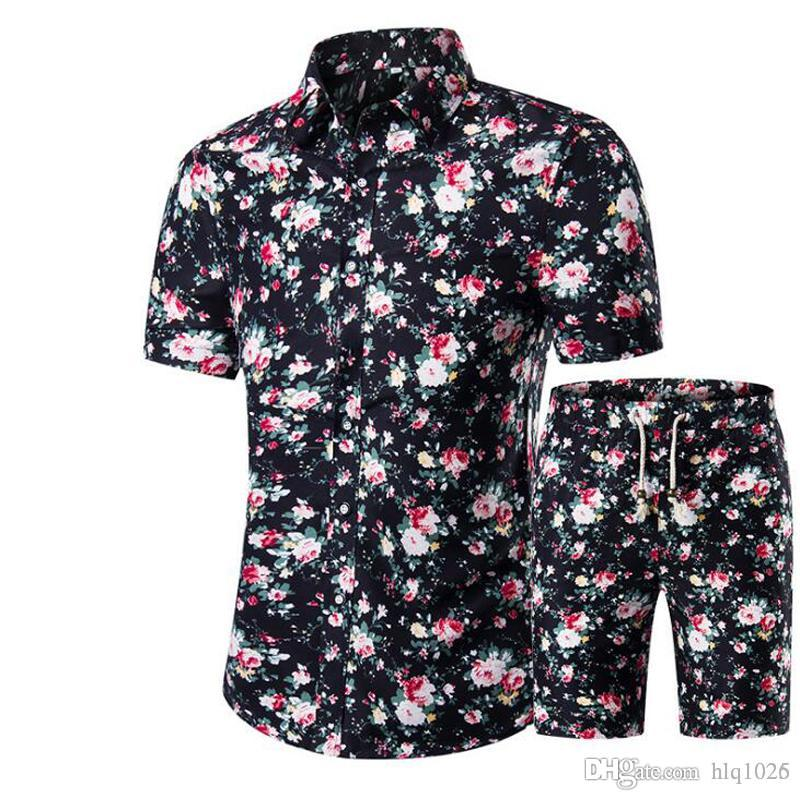 New Summer Men Shirts Shorts Set Casual Printed Hawaiian Shirt ...