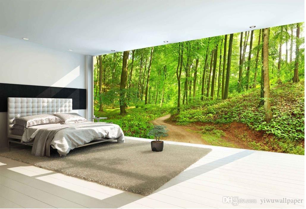 Forest trail landscape high definition backdrop wall mural for Cheap 3d wallpaper