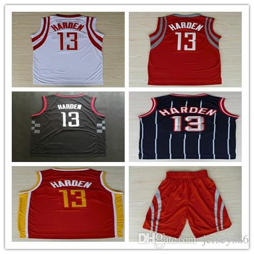 13 James Harden Basketball Jerseys Cousu Rouge Blanc Noir Jaune Arizona State Co
