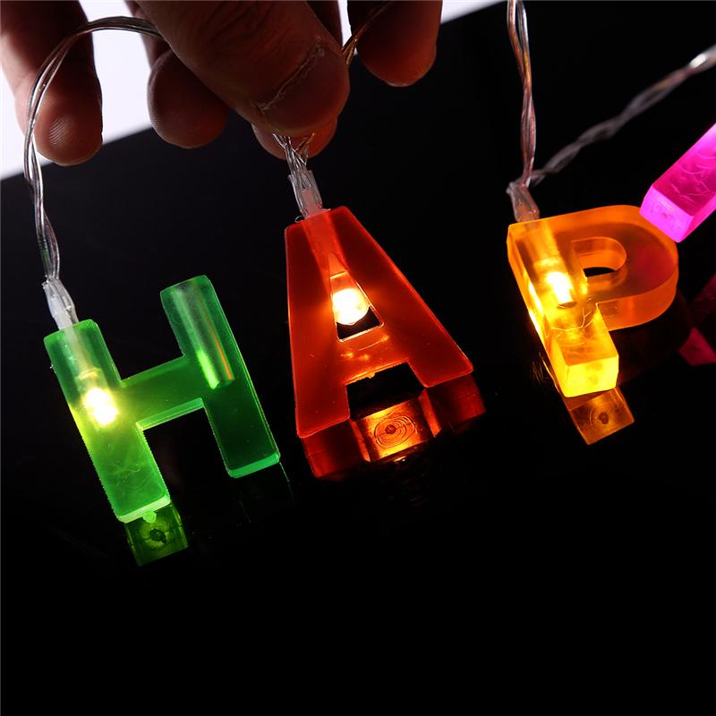 16m 14led happy birthday letters hearts led fairy string lights battery operated birthday decorations party gift garland light mini christmas lights mini - Battery Operated Mini Christmas Lights