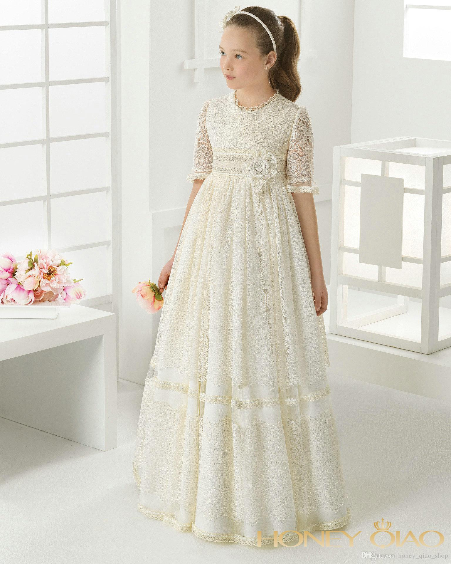 Hot Sell First Communion Dresses 2017 Lace Flower Girl Dresses For ...