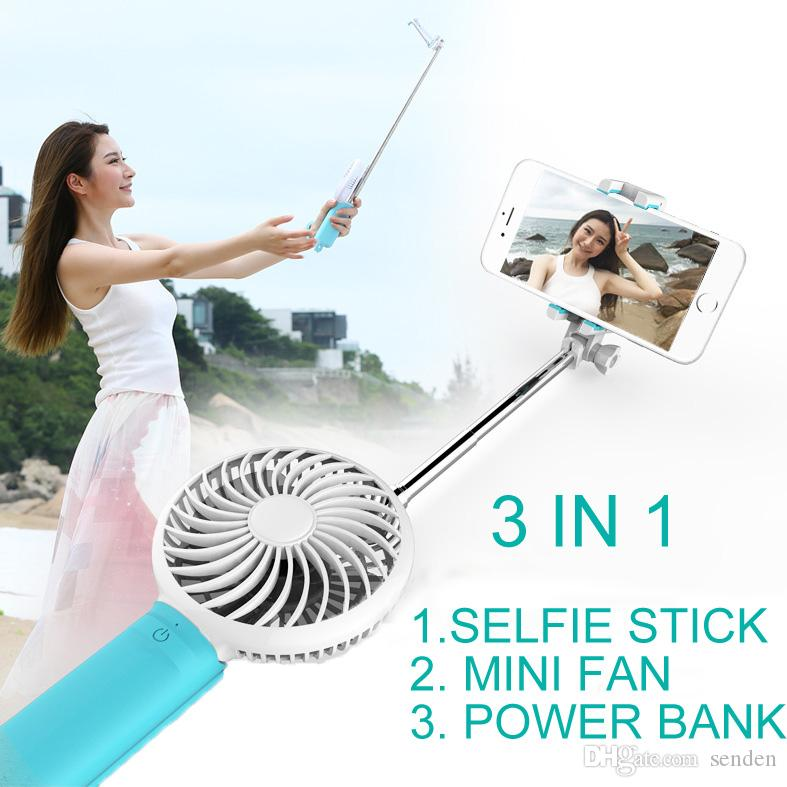multifunction 3 in 1 selfie stick with rechargeable mobile power bank monopod stick with cooling. Black Bedroom Furniture Sets. Home Design Ideas