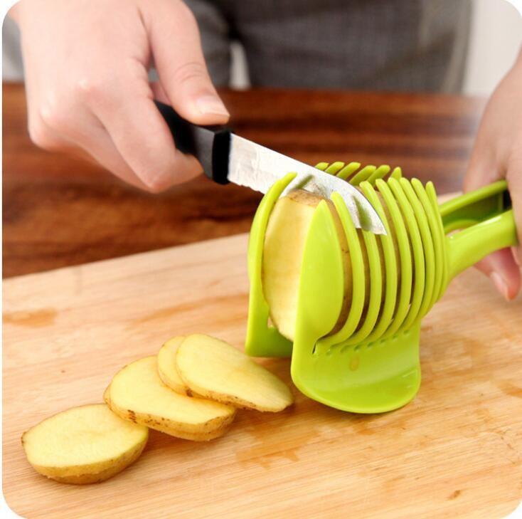 Hot Sale Fruit Vegetable Cutter Tools Plastic Tomato Holder Slicer Guide  Potato/Onion Holder Cutter Kitchen Accessories Cooking Fruit Cutter Holder  Lemon ...
