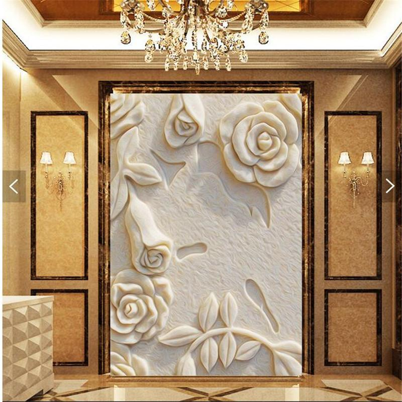 Wholesale Wall Paper 3d Art Mural Hd White Rose Marble Relief Effect Covering Home Decor Modern Wall Painting For Living Room Wallpaper Desktop Background