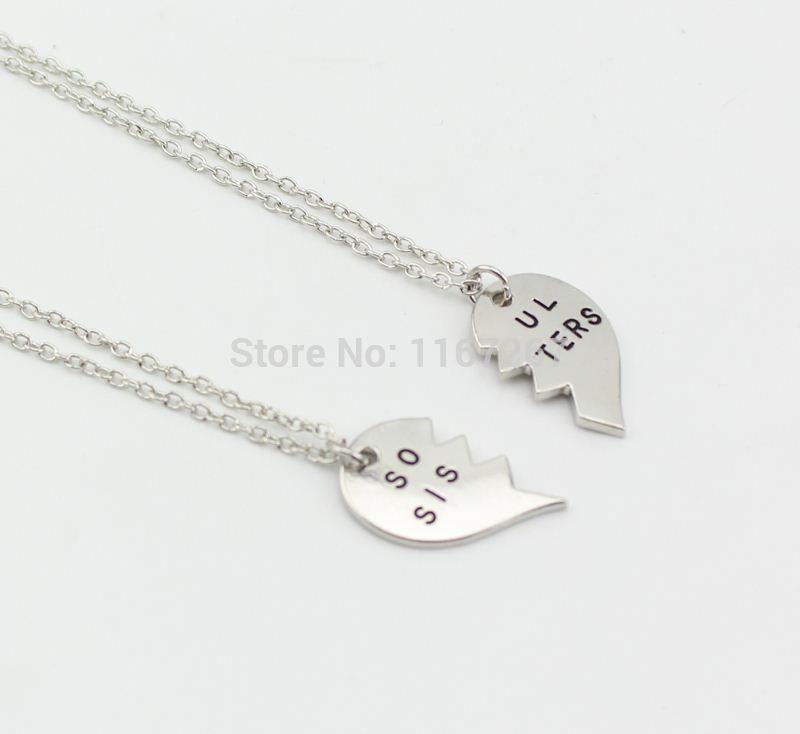 2014 Hot Broken Heart 2 Parts Soul Sisters Necklace Silver Pendant ...