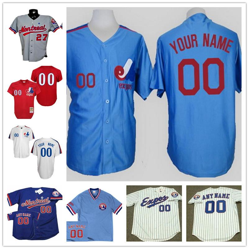 custom montreal expos mens womens youth kid white pinstripe royal blue 1982 cooperstown throwback cu