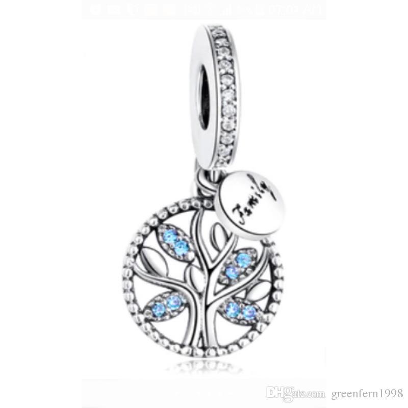925 Sterling Silver Bead Charm Family Heritage Arbre De Vie Avec Crystal  Pendentif Perles Fit Femmes