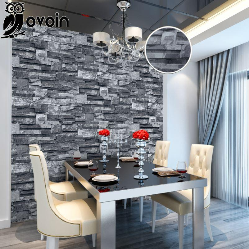 Grey Black Rustic Vintage 3D Vinyl Brick Wall Wallpaper Roll Embossed  Texture Photo Faux Stone Effect Wall Paper Home Decor 10M High Quality  Paper Roll T ...