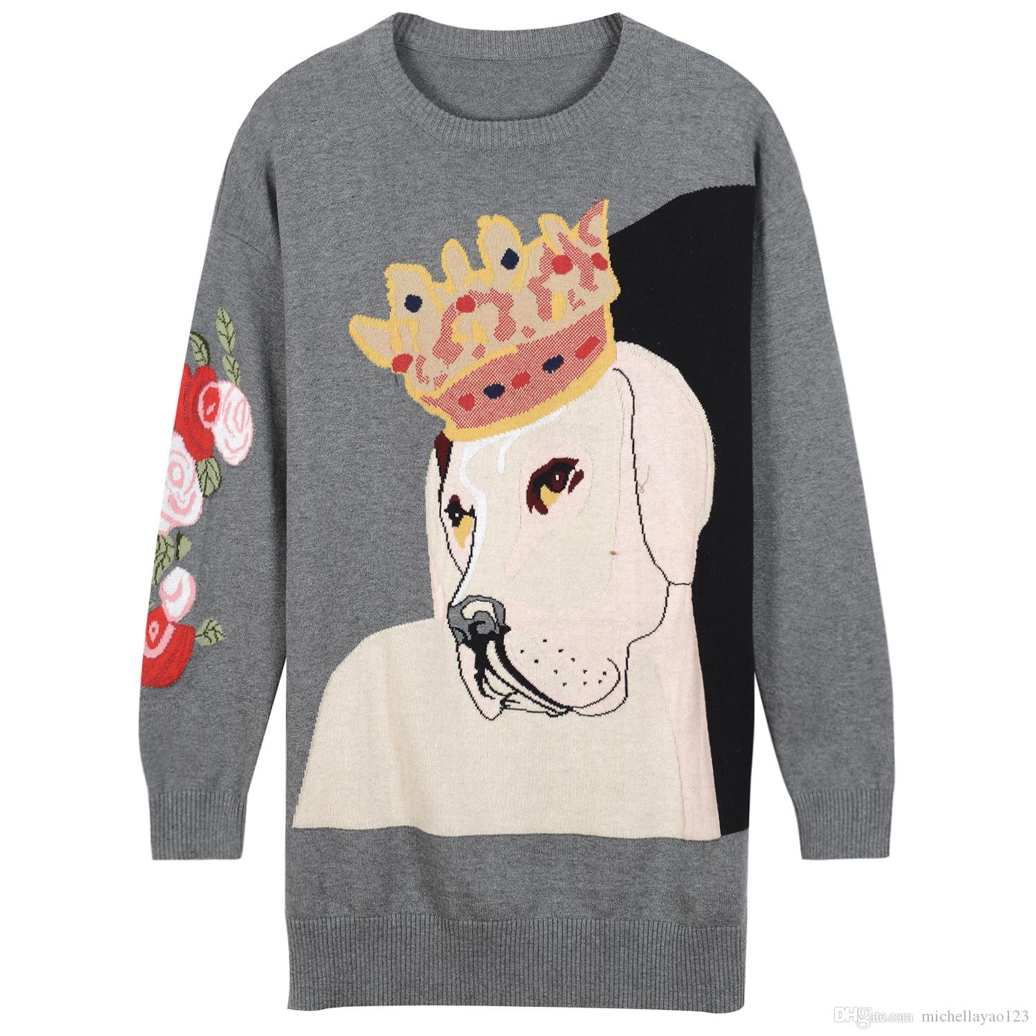 2017 Gray Flowers Dogs Jacquard Knitting Pullover Women Brand Same ...