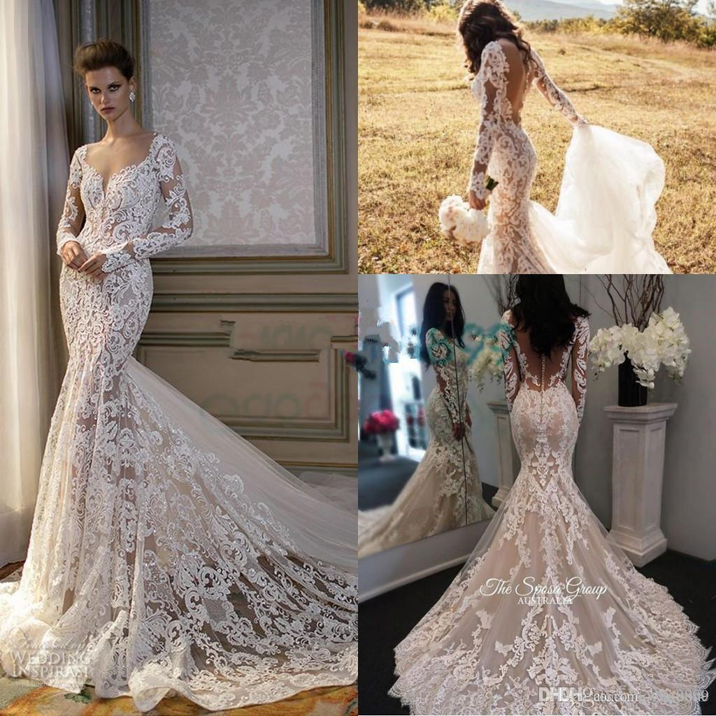 2017 Cathedral Train Mermaid Long Sleeve Wedding Dresses