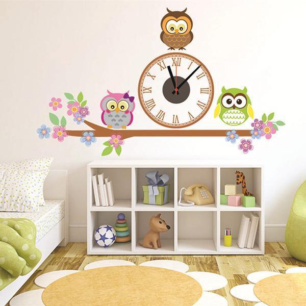 Kindergarten Walls Decor Clock Owl Sticker Wall Clocks