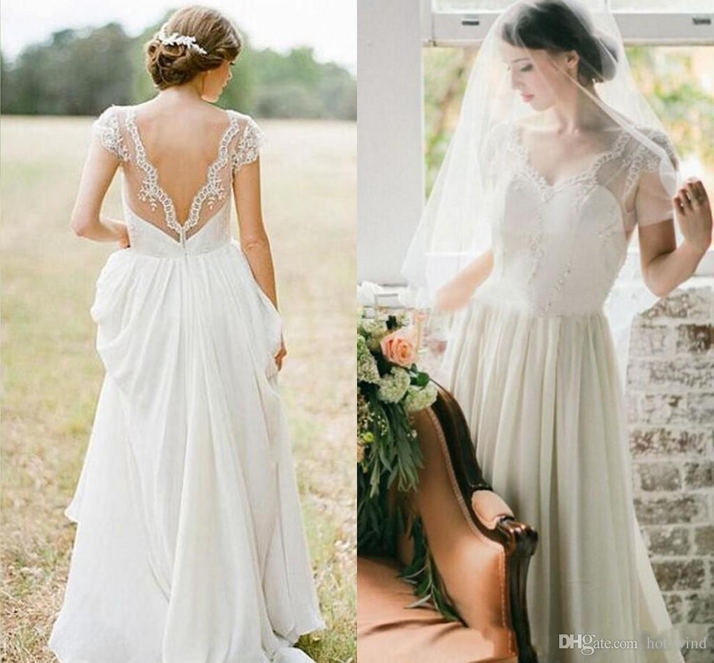 Summer Beach A Line Chiffon Wedding Dresses 2017 Cheap V