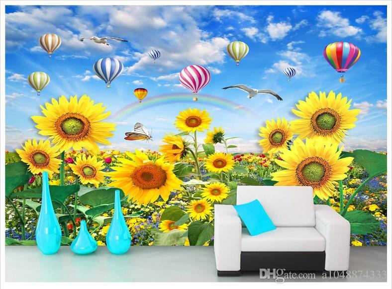 High End Custom 3d Photo Wallpaper Murals Wall Paper Sunflower Smile Beautiful Flower Sun Rainbow Tv Background Wall Decor Room Wallpaper